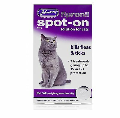 JOHNSON'S FIPRONIL SPOT ON FOR CATS 15 weeks - Posted Today if Paid Before 1pm