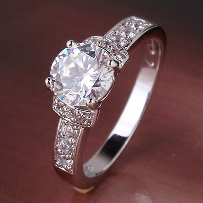 New Design White Topaz 18k white gold filled lady awesome party ring Sz5-Sz9