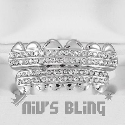 14K White Gold Plated Silver Iced Out GRILLZ CZ Mouth Cap Hip Hop Grill NEW