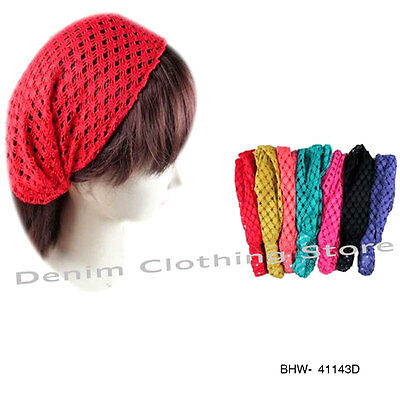 Lot Of 6 Fashion Lace Women 3 in1 W/ Elastic Back HEADBAND Hair Band Head Wrap