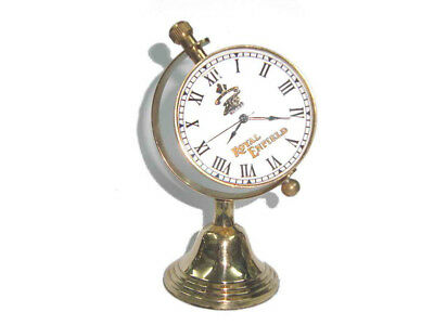 Brand New Rare Enfield Brass Globe Shaped Desk Clock -Cannon Logo