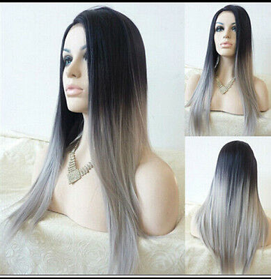 Silk Straight Gray Synthetic Wig Ombre Tone Color Black And Grey Heat Resistant.