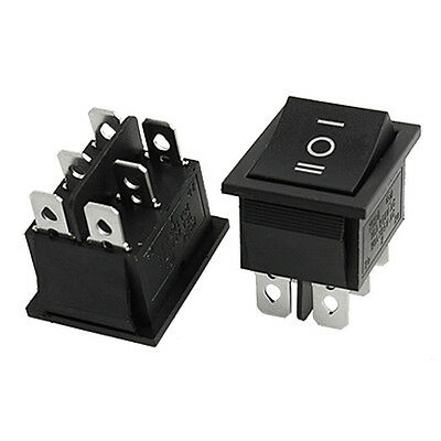 2 pcs 6 Pin DPDT ON-OFF-ON 3 Position Snap in Rocker Switch 15A/250V 20A/125V AC