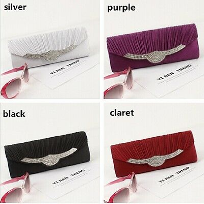 New Satin Rhinestone Handbag Wedding Party Prom Clutch Purse Evening Bag