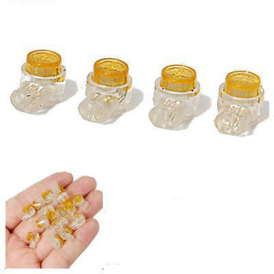 50 Pieces Yellow Button Gel Filled Phone Wire Butt Splice UY Connector 2 Port