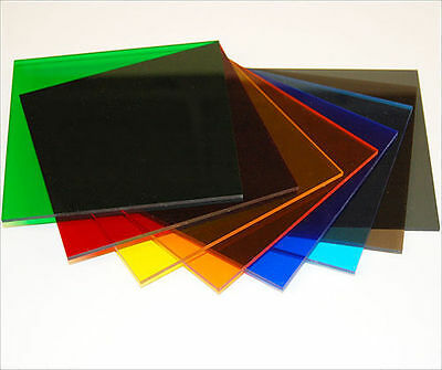 TINTED SAMPLES Acrylic Prespex RANGE of COLOUR TINTS Colours transparent