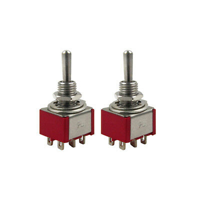 2PCS Guitar Mini Toggle Switches DPDT 2-Position ON/ON Switch for Guitar Bass