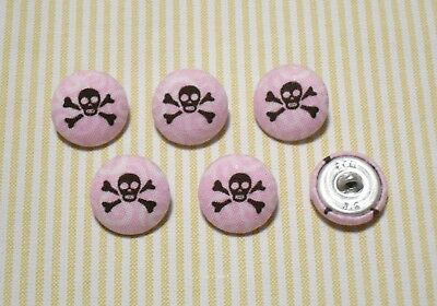 6 Pink with Dark Brown Skull Fabric Covered Buttons - 20mm
