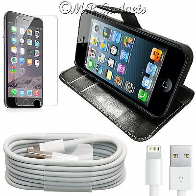 Genuine Tempered Glass + iPhone Charger Cable Leather Book Case For iPhone 5 5s