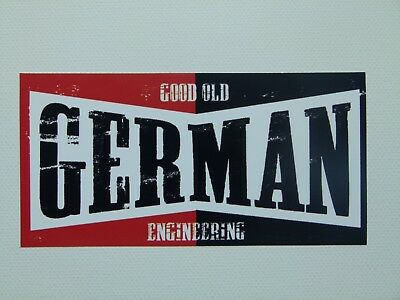 "Oldschool Sticker "" German Engineering  ""  Aufkleber Ratstyle Youngtimer Ratte"