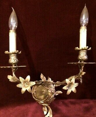 Stunning Antique Brass Double Light Sconce with beautiful flowers