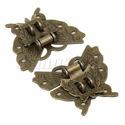 2 x  Chinese Classical Bronze Latch Butterfly Buckle For Cabinet Jewelry Box