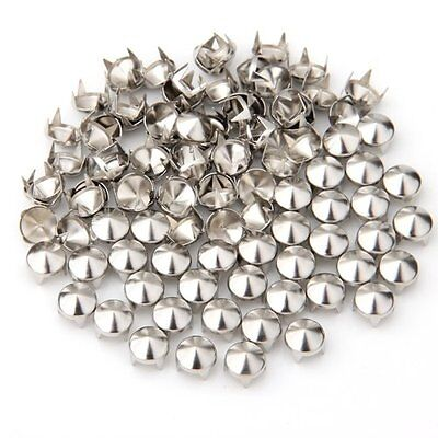 100 Silver Copper Round Cone Rivet Spike Studs Spots DIY 8mm New