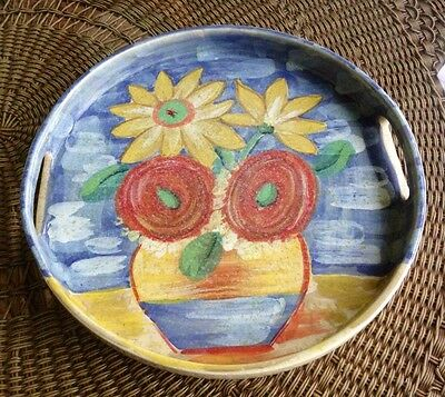 """Vintage SARA Hand Painted MADE IN ITALY Flower Pot Design Ceramic Tray 13-1/2"""""""