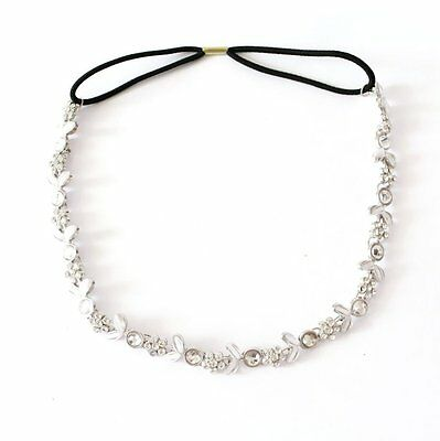 Lady's Silver Plated Crystal Flower Elastic Hair Band Headband New