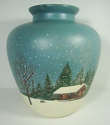 Decorative Handpainted Pottery Jug Log Cabin Winter Scene Signed Oody
