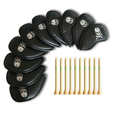 10Pcs Black Skull set Golf Iron Covers Headcovers for Ping G30 Mizuno Cleveland