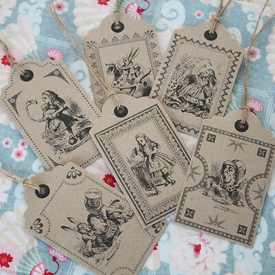 Alice in Wonderland Kraft Brown Vintage Style Gift Tags / Wedding Settings x 6