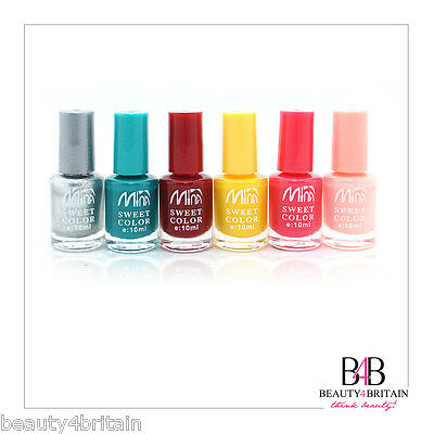 6 x Nail Polish 6 Different Colour Sets For Artificial Nails Bright Vivid Shades