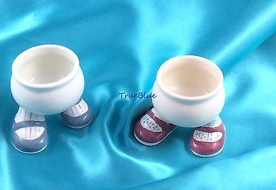 Lot of 2 1976 Carlton Lustre Ware Walking  PINK  & BLUE SHOES Egg Cups