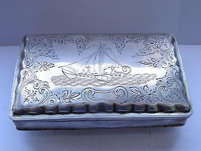 Box Sterling Silver, Dutch Engraving European Style 1860, Top Quality Marked
