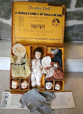 Rare 1920 FAMLEE Dolls BERWICK Clothes Heads Orig Box Interchanging Complete