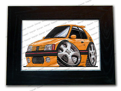 PEUGEOT 205 GTi Sports Car Official Koolart Quality Glass Framed Picture 3 FOR 2