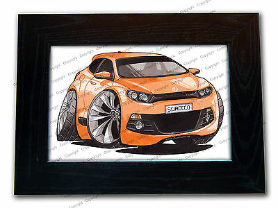 VOLKSWAGEN VW SCIROCCO R Official Koolart Quality Glass Framed Picture 3 FOR 2