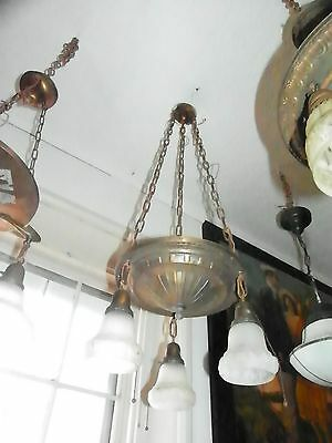 Antique As Found 3 Drop Hub Cap Light Fixture W Floral Puffy Shades  (2300)