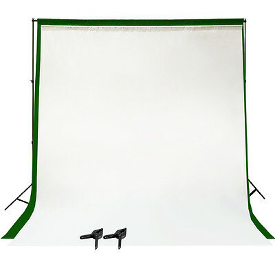 Photo Studio White & Green Background Stand with 6x9 Screen Muslin Backdrop Kit