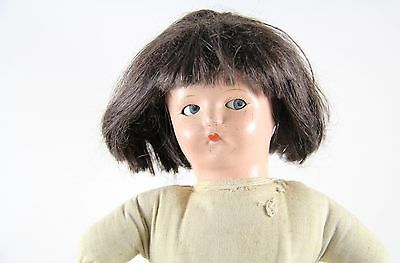 "13"" Antique Vintage Composition Doll with Flirty Googly Eyes & Cloth Body Marked"