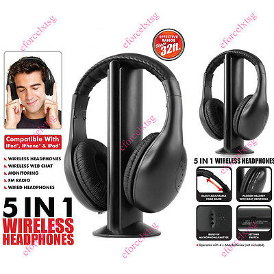 New 5 in 1 Hi-Fi Wireless Wired Headset Headphones For TV PC Phone MP3 Micphone