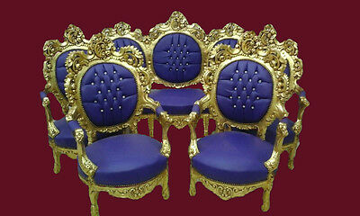 ANTIQUE ITALIAN ROCOCO LIVING ROOM/SOFA/LOVESEAT/ COUCH SET WITH 4 CHAIRS