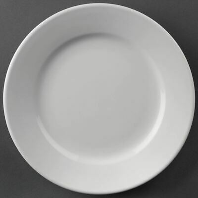 Pack of 12 Athena Hotelware Wide Rimmed Plates 203mm Porcelain