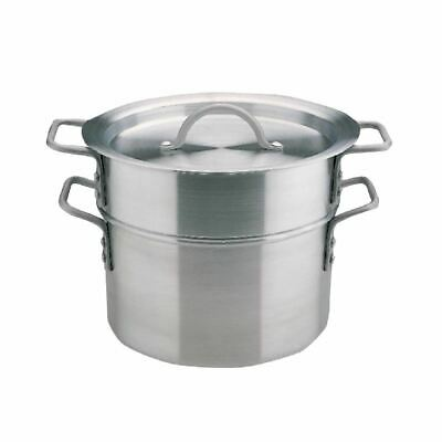 Vogue Aluminium Double Boiler with Lid and Large Handles Easy to Clean - 4L