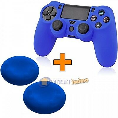 Set Cover Silicone Controller + 2 Gommini Joystick Playstation 4 Ps4 Blu