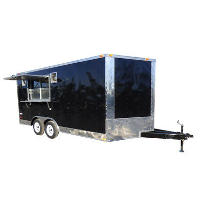 Concession Trailer 8.5'x16' Black - Food Event Catering BBQ