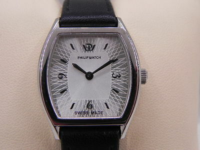 OROLOGIO PHILIP WATCH ENCELADE swiss made VINTAGE DONNA PELLEACCIAIO SILVER DIAL