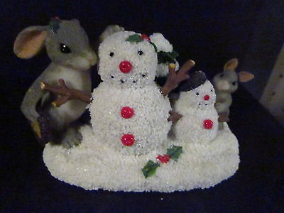Charming Tails JUST THE RIGHT SIZE 87/209 Snowman Rabbit