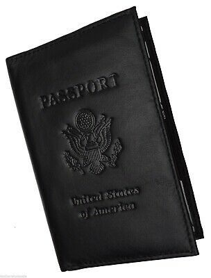 Men's New World Travel Handcrafted Leather Passport Holder Black Cover Case