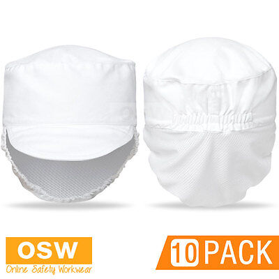 10 X White Chef Hospitality Food Prep Preparation Hat With Fitted Hair Mesh Net