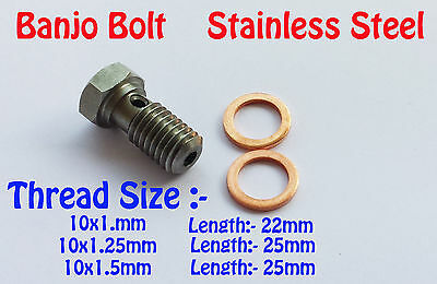 Stainless Steel Banjo Bolt M10x1 M10x1.25 M10x1.5 Brake Adapter fuel line S.S