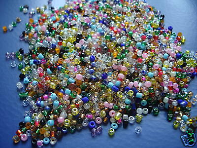 Glass seed beads 8/0  Rainbow of colours 75g Great Colours Loads of small Beads