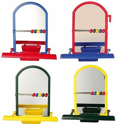 Birds Landing Perch with Mirror & Seed Bowl Bird Cage Budgie Canary Play Toy