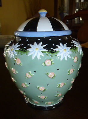 MARY ENGELBREIT Green Blue Pink Black dots Roses Daisies Cookie Jar