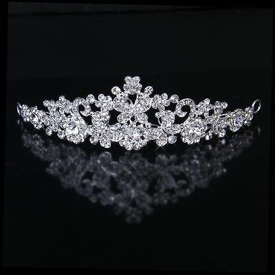 Bridal Tiara Rhinestone Butterfly Flower Crown Wedding Prom Headpiece Headband