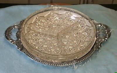 Vintage Savoury Divided Serving Dish, With Tray,topaz Of Hong Kong,  Never Used.
