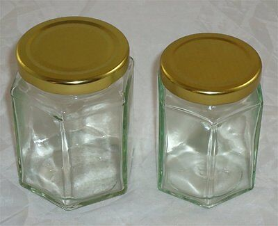 8oz & 12oz HEXAGONAL HONEY - JAM - CHUTNEY- JARS - WITH LIDS - BEE KEEPING -
