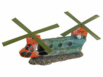 Helicopter Aquarium Ornament with Spinning Propellers Fish Cave Decoration
