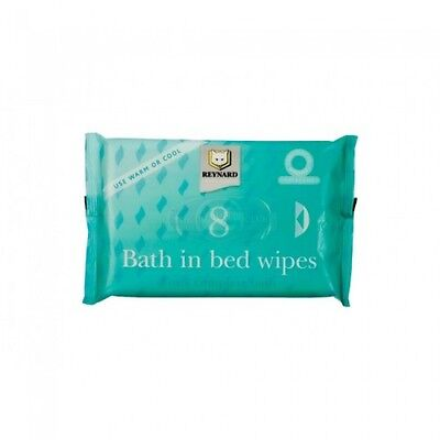 Reynard Bath in Bed Wipes Disposable Pre-Moistened Cleansing No Rinse Pack of 8